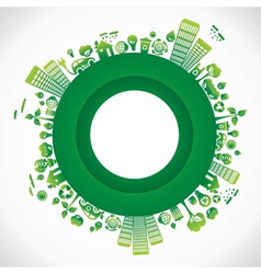 green city in round style vector image vector image