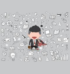 Happy face businessman hello business doodles vector