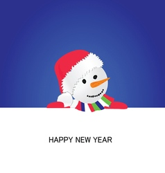 happy new year with snowman cartoon vector image vector image