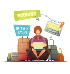 Hostel booking design concept vector