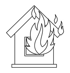 House on fire icon outline style vector