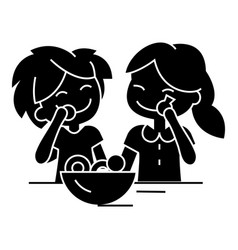 kids eating candy icon sig vector image