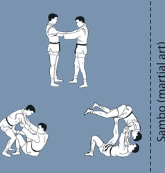 Men demonstrate the fight of sambo self defence vector