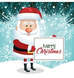 merry christmas card santa snowfall pine design vector image vector image