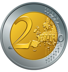 money gold coin two euro vector image vector image