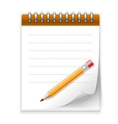 Notepad paper with pencil vector image vector image