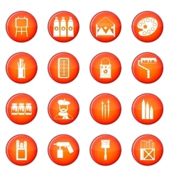 Painting icons set vector