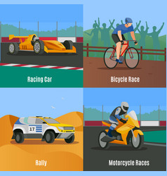 racing flat design concept vector image