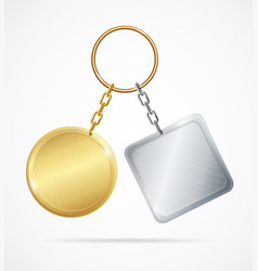 Realistic 3d detailed metal keychains set vector