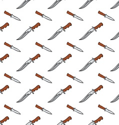 Seamless pattern with doodle combat knives colored vector