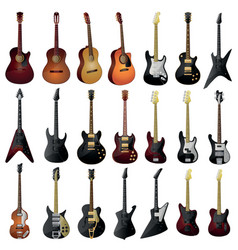Set of isolated guitars vector