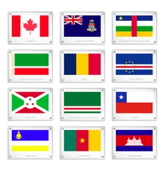 Set of national flags on metal texture plates vector