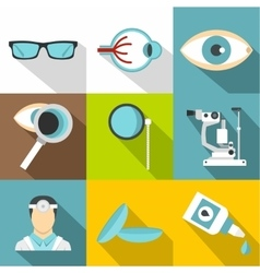 Treatment vision icons set flat style vector