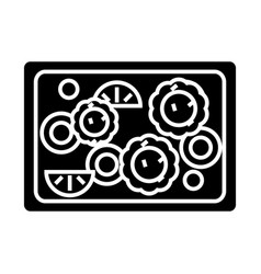 Vegetables fried icon blac vector