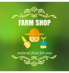 Vintage farm shop badge vector