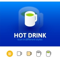 Hot drink icon in different style vector image