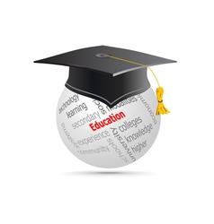 Education Cup on Globe Keywords vector image