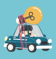 Businessman driving car have bulbs idea vector