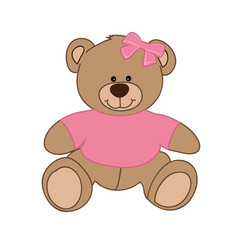 Pink bear girl vector