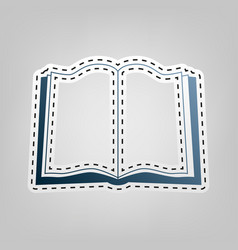 Book sign  blue icon with outline for vector