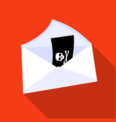 E-mail with virus icon in flat style isolated on vector