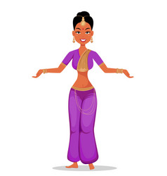 Indian girl character in beautiful traditional vector