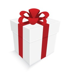 Red ribbon and white gift box isolated vector