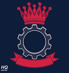 Industrial design element cog wheel with a coronet vector