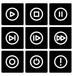 Black media buttons icon set vector