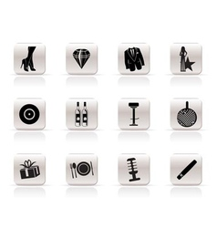 Simple luxury party and reception icons vector