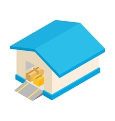 Warehouse with open door isometric 3d icon vector