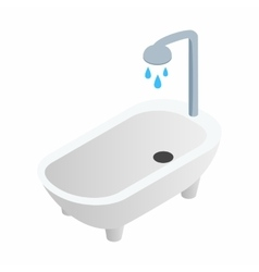 Bathtub with shower isometric 3d icon vector