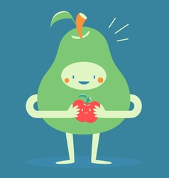 Cute pear hugging a small apple vector