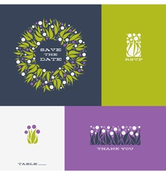 Floral design elements and wreath of allium vector