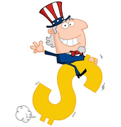 Uncle sam riding a dollar symbol vector