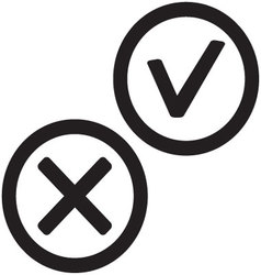 Yes and no icon black white vector