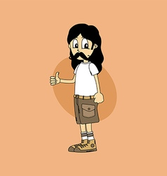 Male cartoon character thumb up gesture vector
