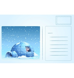 Igloo postcard vector