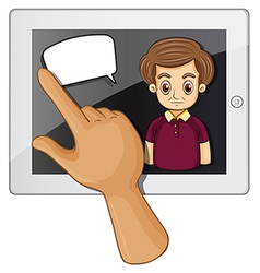 A finger touching the gadget with a serious vector image vector image