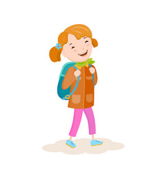 a small girl goes on a journey vector image vector image