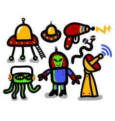 alien icon set vector image