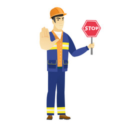 Asian builder holding stop road sign vector