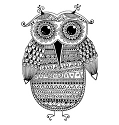 black and white original ethnic owl ink drawing vector image vector image