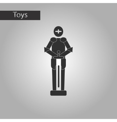Black and white style toy child soldier knight vector