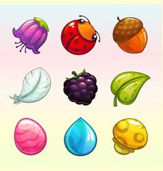 Cartoon assets for match 3 game design vector
