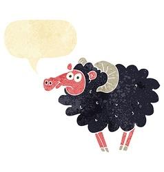 cartoon black sheep with speech bubble vector image