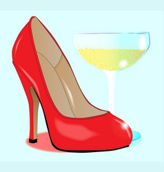 champagne and ladies shoe vector image