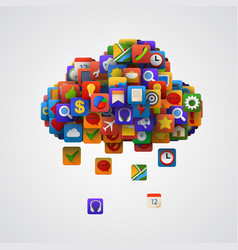 Cloud with many application icons vector