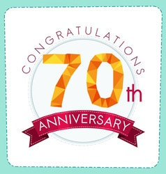 Colorful polygonal anniversary logo 3 070 vector
