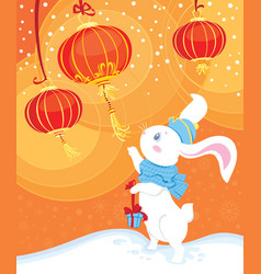 Curiosity white rabbit and chinese lanterns vector